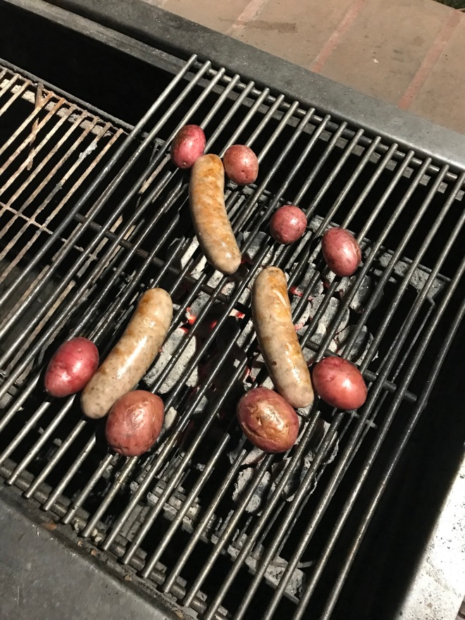 bbq by the lake: sausage and spuds